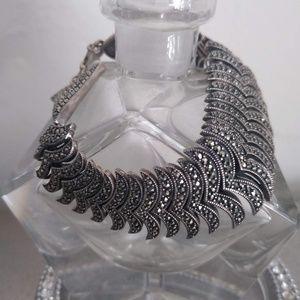 Jewelry - MARCASITE STAMPTED 925 14K FISHTAIL BRACELET!